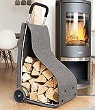 Feuerholzkorb mit Rädern Kaminholz-Wagen fahrbar Brennholz-Ständer Filz grau
