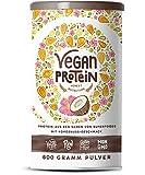 Vegan Protein | KOKOS | Pflanzliches Proteinpulver aus gesprossten Reis, Hanfsamen, Erbsen, Chia-Samen, Leinsamen, Amaranth, Sonnenblumen- und Kürbiskernen | Mit Verdauungsenzymen | 600 Gramm Pulver