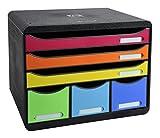 Exacompta Storebox Maxi Harlekin mit 6 Schubladen / Stapelbare Schubladenbox im Querformat für mehr Platz auf dem Schreibtisch in Bunt