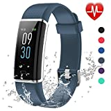 Lintelek Fitness Armband,Fitness Tracker mit Pulsmesser 0,96 Zoll Farbdisplay Fitness Uhr Armband Uhr Schlafmonitor Aktivitätstracker 14 Trainingsmodi Vibrationsalarm GPS (Grau) MEHRWEG
