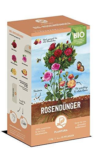Plantura Bio Rosendünger mit 3 Monaten Langzeitwirkung für den Garten und Balkon-Pflanzen, für eine prächtige Blüte, gut für den Boden, unbedenklich für Haus- & Gartentiere, 1,5 kg