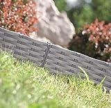 Rasenkante Gartenpalisade Beeteinfassung Beetumrandung 3,9m Rattan-Optik 3 Farben (Grau)
