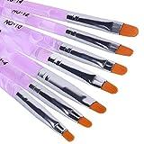 MelodySusie Nägel Pinsel,UV Gel pinsel Pinselset 7-teilig für Nailart Perfekt für Gel, Acryl Nägel, Onestroke