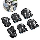 Overmont Protektorenset 6-Teilig Schutzset Handgelenkschoner Knieschoner Ellenbogenschoner für Kinder Teenager Erwachsene Skateboard BMX Skate Radfahren (Größe S)