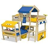 WICKEY Doppelbett CrAzY Trunky Etagenbett Kinderbett 90x200 für 2 Kinder in schrägem Design mit Lattenboden, blau-gelb