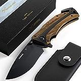 BERGKVIST Taschenmesser 3-in-1 K29 Tiger [2019] Knife I scharfes Messer I Outdoor Messer & Klappmesser mit Holzgriff I Schnitzmesser mit Schleifstein, Tasche & eBook