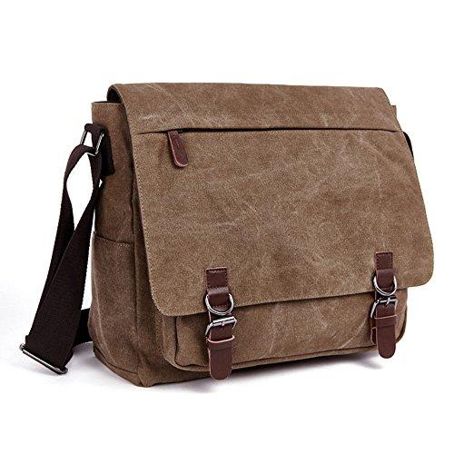 LOSMILE Umhängetasche Herren Schultertasche 16 Zoll Kuriertasche Canvas Laptop Tasche Messenger Bag für Arbeit und Schule. (Kaffee)