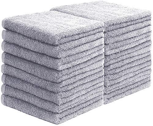 GREEN MARK Textilien 20er Pack Frottier Gästetücher mit Aufhänger 30x50cm GÄSTETUCH GÄSTE-Handtuch Farbe: Silber grau