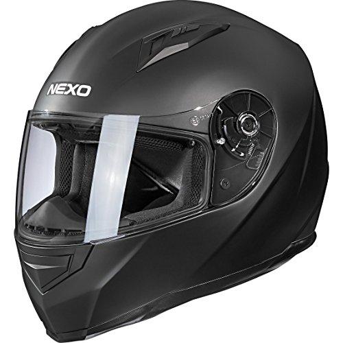 Nexo Motorradhelm, Vollvisierhelm, Integralhelm Basic II, herausnehmbares Komfortpolster, mehrfache Be-, Entlüftung, Nasen-, Kinnwindabweiser, klares und kratzfestes Visier, Ratschenverschluss, XS-XL