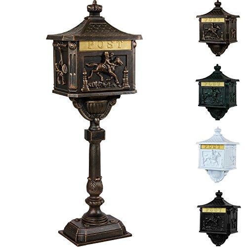 Antiker Standbriefkasten aus rostfreiem Aluminium Briefkasten Postkasten groß antik Höhe 111 cm detailreiche Verzierungen 4 Farbvarianten Bronze