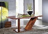 MASSIVMOEBEL24.DE Sheesham Massivmöbel Lackiert Säulentisch 220x100 Palisander Holz massiv Massivholz Walnuss Duke #134