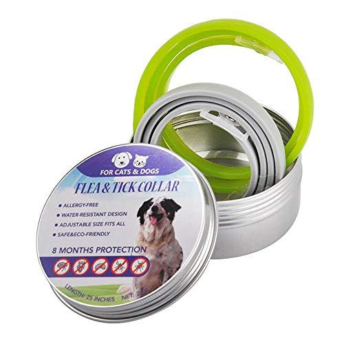 """Baiwka Zecken Halsband für Hunde und Katzen,2 Stück Wasserdicht Hund Flohhalsband,8 Monate Schutz - 25""""Verstellba für Kleine Groß Haustiere,Natürliche & Sicherheit"""