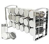 LEANDER DESIGN Gewürzregal für Küchenschrank und Arbeitsfläche, 18 Gewürzgläser, Küchen-Organizer auf 3 Ebenen – Silber