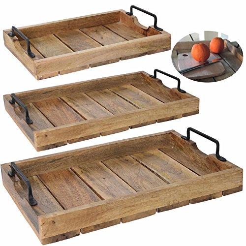 LS Design Holz Tablett Serviertablett Betttisch Betttablett Griff Mangoholz Braun XL 46x31x8cm LS-LebenStil