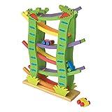 Kugelbahn Krokobahn aus Holz, im farbenfrohen Design, 4 Autos sorgen für eine rasante Abfahrt über 6 Ebenen, schult die Feinmotorik