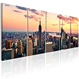 murando - Bilder New York 225x90 cm - Leinwandbilder - Fertig Aufgespannt - 5 Teilig - Wandbilder XXL - Kunstdrucke - Wandbild - Skyline NYC Stadt City d-B-0200-b-m
