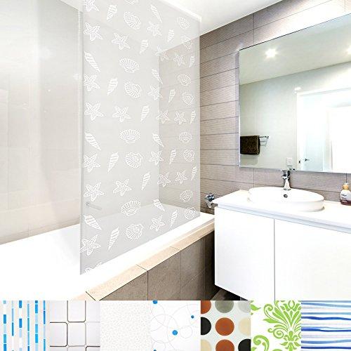 Modernes Duschrollo Ocean mit Kassette | schnelltrocknendes Rollo für Dusche und Badewanne | bis zu 240 cm Länge ausziehbar | zahlreiche Breiten wählbar (Breite 80 cm)