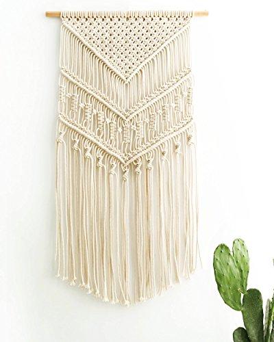 Mkouo Makramee Wandbehang Dekoration für Ihr Zimmer wie die Küche Böhmische Wanddeko Wandteppich von Baumwolle Handgefertiges Textil Einzigartiger dekorativer und beiger Türvorhang