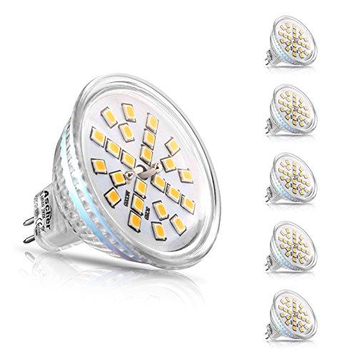Ascher 5er Pack MR16 GU5.3 LED Lampen, 400lm, Ersatz für 50W Halogenlampen, 4W, 12V AC / DC, Warmweiß,120 ° Ausstrahlungswinkel , LED-Reflektorlampe mit GU5.3-Sockel
