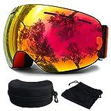 Skibrille, Ski Snowboardbrille Brillenträger Schneebrille Verspiegelt- Für Skibrillen mit Anti-Nebel UV-Schutz, Winter Schnee Sport, Austauschbar Sphärische Doppelte Linse für Männer Frauen(Rot)