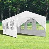 wolketon Pavillon mit 8 Seitenteilen weiß Partyzelt Gartenzelt 100G PE Dach Praktischer Großes Zelt 3x9m für Garten/Party/Hochzeit/Picknick/Markt