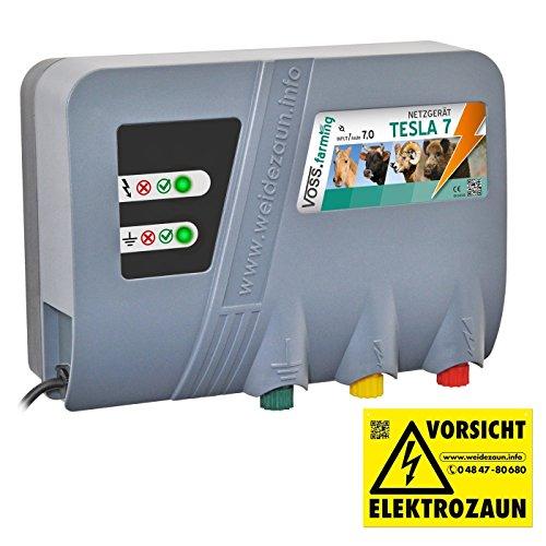 Weidezaungerät 'TESLA 7' von VOSS.farming - Extra Power: 230V, 10000 Volt , 7 Joule, für lange Zäune, starker Bewuchs