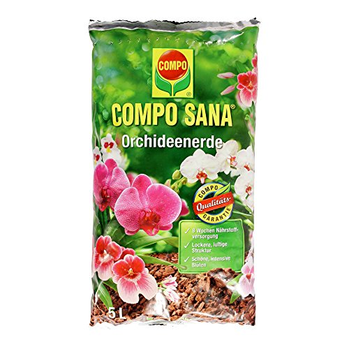 COMPO SANA Orchideenerde mit 8 Wochen Dünger für alle Orchideenarten, Kultursubstrat aus Pinienrinde