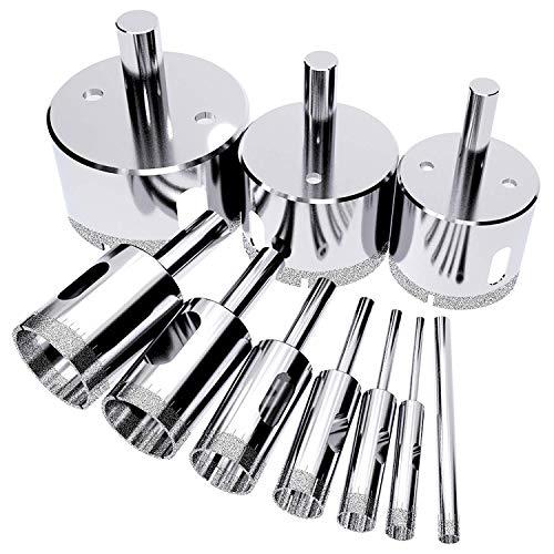 Lochsäge Diamantbohrer 10 Stücke 6-30mm Fliesenbohrer Hohlkern Bohrer Set, Zum Schneiden von Glas,Fliesenglas,Keramik,Granitstein,Quarzit,Glasfliesen
