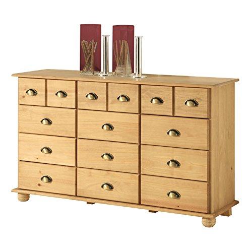 Kommode Apothekerschrank Landhauskommode Sideboard COLMAR mit 12 Schubladen, Muschelgriffe, in gebeizt/gewachst