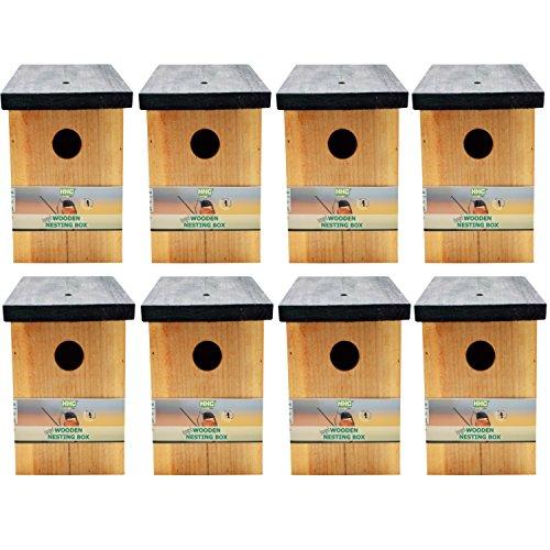 Handy Home and Garden 8 x Druckbehandelter hölzerner Wilder Vogelhaus-hölzerner Nistkasten HHGBF017