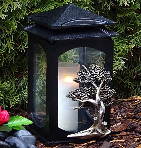 Grablaterne Grablampe Lebensbaum Baum des Lebens Massiv Schwarz incl. Grabkerze Grabdekoration Grablaterne Grablicht Grabschmuck Grableuchte Laterne