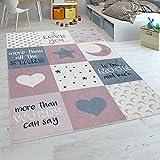 Paco Home Kinderteppich Kinderzimmer Mädchen Waschbar Herzen Sterne Mond Spruch Rosa Grau, Grösse:160x230 cm