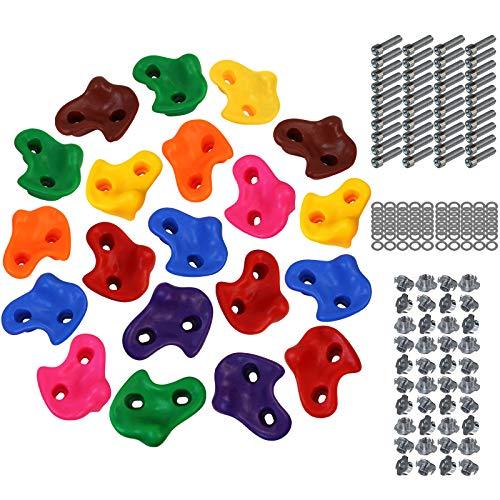 ALPIDEX Kinder Klettergriffe Klettersteine für Kletterwand bunt gemischt inklusive Befestigungsmaterial , wahlweise 5, 10, 15 oder 20 Stück, Farbe:Mixed Colours, Verpackungseinheit:20 Stück
