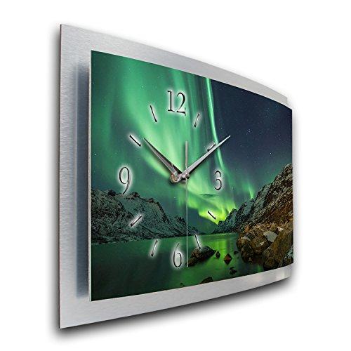 Wanduhr Polarlicht Naturwunder 3D XXL Designer leise Funk Motiv Funkuhr Wandbild modernes Design WAA054FL Kreative Feder (80x40cm)