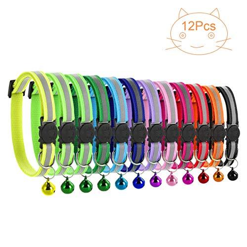 Petyoung 12 Pack Reflektierende Katzenhalsbänder Sicherheitsschnalle mit Glocken-Haustier Katzenhalsband Verstellbar von 19 bis 32 cm