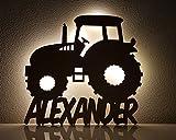 Schlummerlicht / Nachtlicht 'Traktor' personalisiert mit Namen - Optional mit Zugschalter und Lackierung - Neu: 50% dickeres Holz