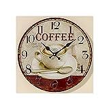 Nostalgische Wanduhr aus Glas, rund, Coffee , Kaffeetasse 34x34 cm