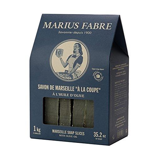 Marius Fabre Olivenseife Marseiller Seife in Scheiben - 1 kg in der Retro-Box, unparfümiert