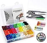 1Plusselect Snaps Zange mit 400 Set T5 Druckknöpfe in 20 Farben Nähfrei Zubehöre in Organizer für DIY Basteln Scrapbook