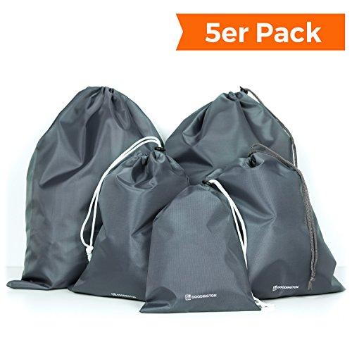 Packbeutel-Set 5-teilig, Organizer Beutel für Koffer, Rucksack und Reisetasche, Premium Reisebeutel Set als Schuhbeutel oder Wäschebeutel in drei verschiedenen Größen