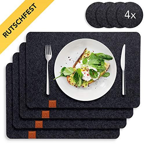 Lindenberg Living - Premium Tischset aus Filz mit Rutschfester Rückseite | 4 waschbare Platzsets und 4 Glasuntersetzer | Groß, abwischbar und abwaschbar, geeignet für Kinder | Design Platzdeckchen