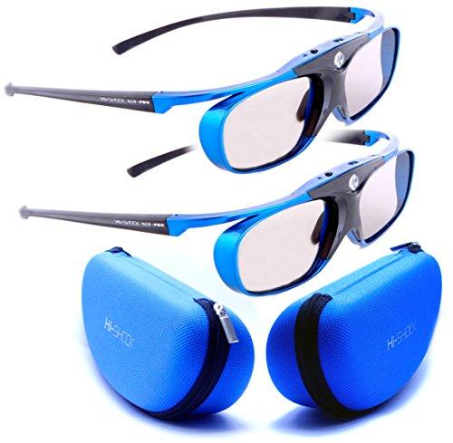 Doppelpack 4.GENERATION | DLP PRO 4G, 'Blue Heaven' Original von Hi-Shock GERMANY | HighEnd DLP Link 3D Brille für alle 3D DLP Beamer | Ultra leicht, hell und smart | Perfekt mit Optoma HD131x, HD25, BENQ w1070,W 1080ST, W750, mw519, Acer H7532BD, H6510BD, H7531D | Modell: YDD3PG, 96-144Hz, 32g, USB aufladbar, blau, verschiedene Farben erhältlich | inkl. KAJFOO SPIEGELSCHUTZ + LCD CLEANER + OFFIZIELLER SUPPORT + 3 JAHRE DEUTSCHE GARANTIE