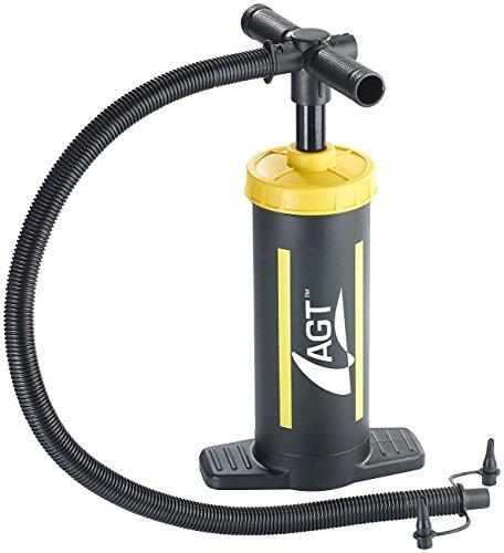 AGT Doppelhubpumpe: Doppelhub-Hand-Luftpumpe, 2 x 1,5 Liter Pumpleistung, 2 Ventilaufsätze (Handpumpe)