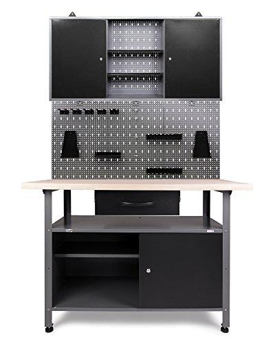 Ondis24 Werkstatteinrichtung grau Werkbank Werzeugschrank Euro - Lochwand mit Hakensortiment 120 x 60 x 202 (H) cm