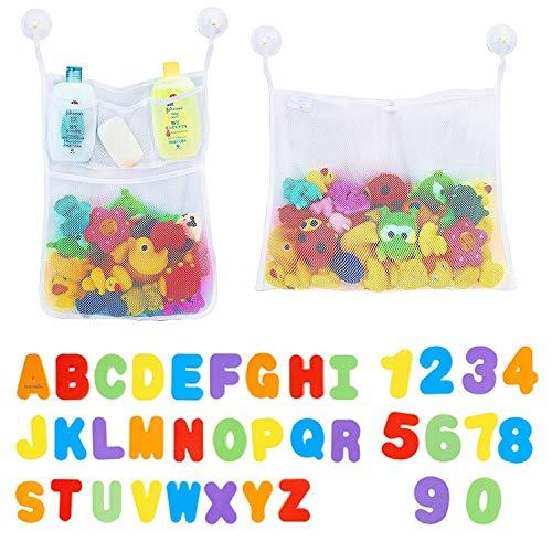 BBLIKE Badewanne Spielzeug Organizer Große Aufbewahrung Mesh mit Schwimmenden 26 Buchstaben und 10 Zahlen & 6 Klebehaken– für Kinder, Kleinkinder, Erwachsene, Spielen für Bad