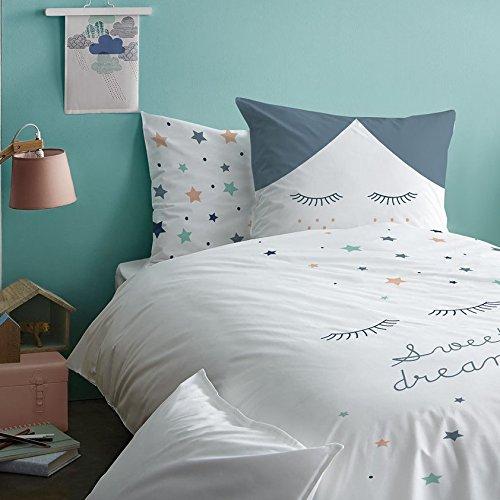 STERNE Mädchen Bettwäsche Set  Sweet dreams · Wende Motiv mit tollen Sternen & Sternchen / Wimpern · mint, grau, weiß, apricot · 2 teilig - Kissenbezug 80x80 + Bettbezug 135x200 cm - 100% Baumwolle