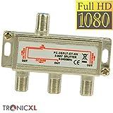 TronicXL 3fach F-Stecker Antennenverteiler DC-Durchlass TV Kabel Kabelfernsehen BK DVB-T2 zb für Unitymedia Splitter HD