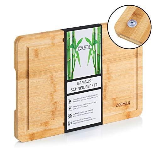 Zolmer Bambus Schneidebrett mit Saftrille 33 x 24 x 2 cm I Bamboo Holzbrett rutschfest I Küchen Holz Schneidbrett klein I Cutting Board antibakteriell