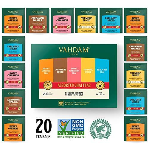 VAHDAM, Chai Tee Sampler, 5 TEAS - Tee Sortenpaket | Verschiedene Chai Teebeutel | Kardamom Teebeutel, Zimt Teebeutel, Kurkuma Masala Chai Teebeutel | 20 Ct | Chai Latte, Tee - Geschenkset
