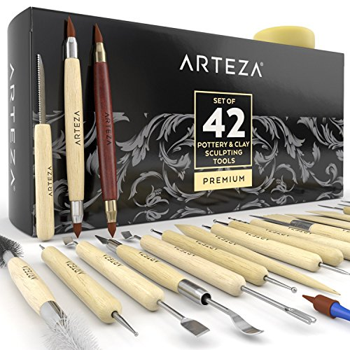 ARTEZA Töpferwerkzeug-Set — 42 Modellier-Werkzeuge — Doppelseitige Ton-Werkzeuge — Keramik-Werkzeug mit Holzgriffen